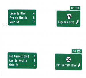 These artist renderings indicate what the highway signs on I-10 eastbound west of the city would look like if the name of Motel Boulevard is changed to either Pat Garrett Boulevard or Legends Boulevard, which are both under consideration. (Courtesy photo)
